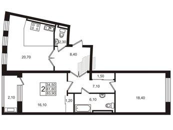 Квартира в ЖК «Стокгольм» / «STOCKHOLM», 2 комнатная, 83.2 м², 6 этаж