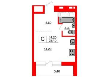 Квартира в ЖК Ultra City, студия, 23.1 м², 13 этаж