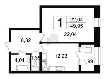Квартира в ЖК Монополист, 1 комнатная, 49.95 м², 8 этаж