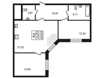 Квартира в ЖК Ласточка, 2 комнатная, 74.18 м², 2 этаж