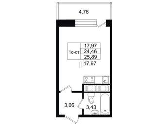 Апартаменты в ЖК Москва, студия, 24.6 м², 12 этаж