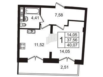 Квартира в ЖК Три ветра, 1 комнатная, 39.4 м², 13 этаж