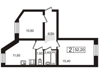 Квартира в ЖК Северные высоты, 2 комнатная, 52.2 м², 1 этаж