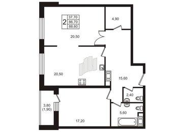 Квартира в ЖК «Богемия», 2 комнатная, 89.5 м², 11 этаж