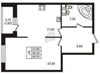 Квартира в ЖК «Богемия», 1 комнатная, 60.8 м², 10 этаж