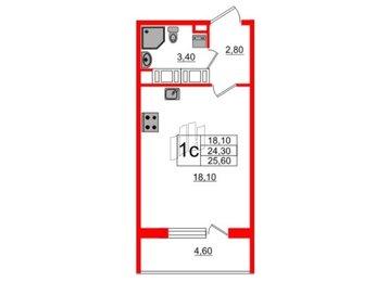 Квартира в ЖК Полюстрово Парк, студия, 24.3 м², 13 этаж