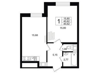 Квартира в ЖК «Кантемировский», 1 комнатная, 40.7 м², 1 этаж