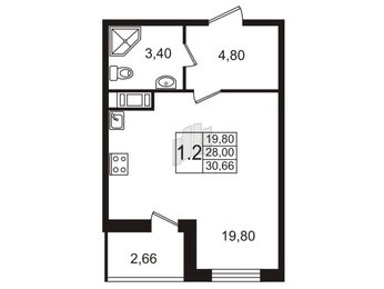 Квартира в ЖК Весна-3, студия, 27.8 м², 10 этаж