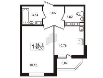 Квартира в ЖК «Дом на набережной», 1 комнатная, 40.8 м², 13 этаж