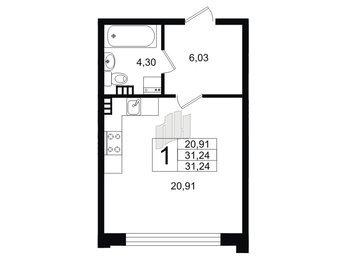 Квартира в ЖК Неоклассика-1, студия, 30.6 м², 3 этаж
