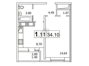 Квартира в ЖК «Новое Мурино», 1 комнатная, 34.3 м², 19 этаж