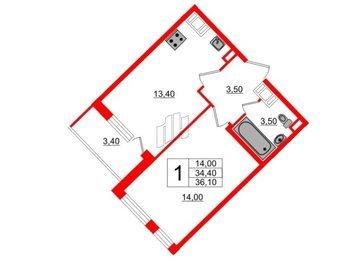 Квартира в ЖК Полюстрово Парк, 1 комнатная, 34 м², 16 этаж