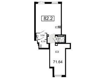 Помещение в ЖК Дом на Набережной, 82.3001 м², 1 этаж
