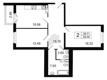 Квартира в ЖК Дом у Невского, 2 комнатная, 69.5 м², 4 этаж