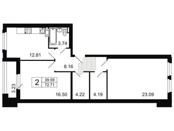 Квартира в ЖК Дом у Невского, 2 комнатная, 72.7 м², 3 этаж