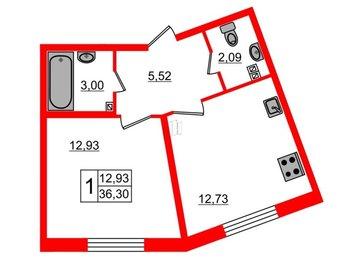 Квартира в ЖК EcoCity, 1 комнатная, 36.3 м², 2 этаж