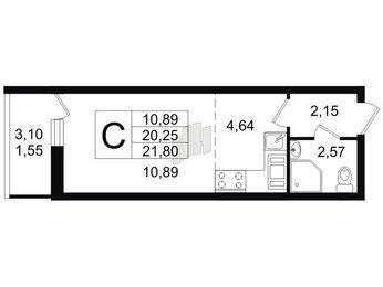 Квартира в ЖК Материк, студия, 21.8 м², 16 этаж
