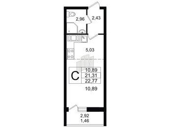 Квартира в ЖК Материк, студия, 22.77 м², 14 этаж