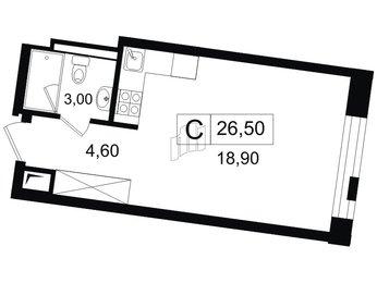 Квартира в ЖК YE'S, студия, 26.5 м², 10 этаж