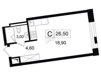 Квартира в ЖК YE'S, студия, 26.5 м², 9 этаж