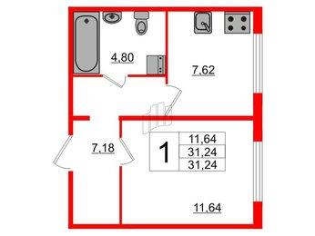 Квартира в ЖК Шуваловский, 1 комнатная, 31.24 м², 1 этаж