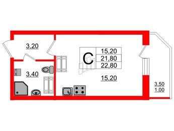 Квартира в ЖК Невская звезда, студия, 22.8 м², 16 этаж