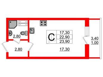 Квартира в ЖК Невская звезда, студия, 23.9 м², 8 этаж