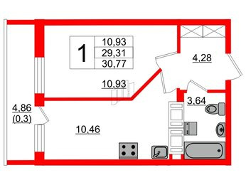 Квартира в ЖК Охтинская дуга, 1 комнатная, 29.31 м², 19 этаж
