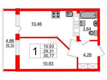 Квартира в ЖК Охтинская дуга, 1 комнатная, 29.31 м², 17 этаж