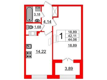 Квартира в ЖК Петровский Квартал на воде, 1 комнатная, 42.11 м², 4 этаж