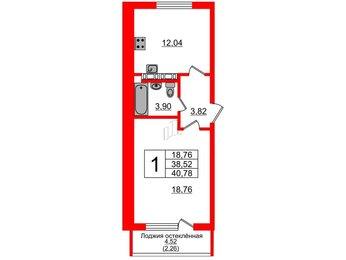 Квартира в ЖК Стерео, 1 комнатная, 40.78 м², 4 этаж