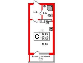 Квартира в ЖК Стерео, студия, 25.35 м², 4 этаж