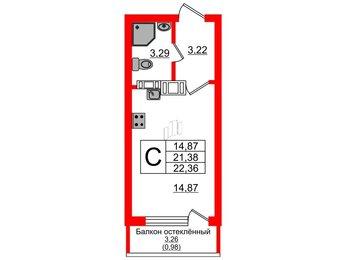 Квартира в ЖК Стерео, студия, 22.36 м², 4 этаж