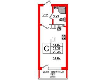 Квартира в ЖК Стерео-2, студия, 22.36 м², 5 этаж