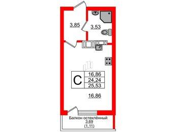 Квартира в ЖК Стерео, студия, 25.53 м², 12 этаж
