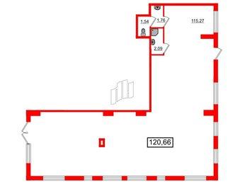 Помещение в ЖК ПАЛАЦИО, 121.8 м², 1 этаж