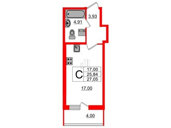 Квартира в ЖК «Триумф Парк», студия, 25.84 м², 2 этаж