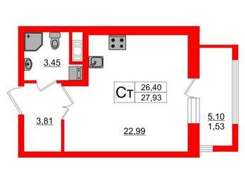 Квартира в ЖК PROMENADE, студия, 29.91 м², 5 этаж