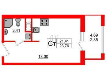 Квартира в ЖК PROMENADE, студия, 23.56 м², 3 этаж
