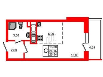 Квартира в ЖК МореОкеан, студия, 24.16 м², 24 этаж