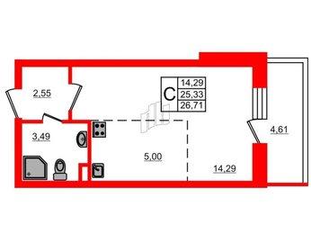 Квартира в ЖК МореОкеан, студия, 25.33 м², 3 этаж