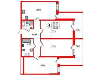 Квартира в ЖК Два ангела, 3 комнатная, 96.28 м², 12 этаж