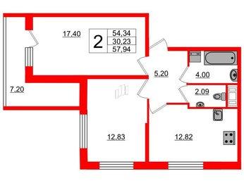 Квартира в ЖК Два ангела, 2 комнатная, 57.94 м², 6 этаж