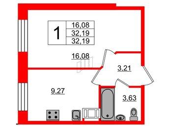 Квартира в ЖК «Новое Янино», 1 комнатная, 32.3 м², 1 этаж