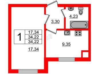 Квартира в ЖК Lake City-8, 1 комнатная, 34.22 м², 1 этаж