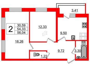 Квартира в ЖК Суворов, 2 комнатная, 56.04 м², 24 этаж