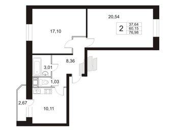 Квартира в ЖК «Девяткино», 2 комнатная, 77.6 м², 18 этаж