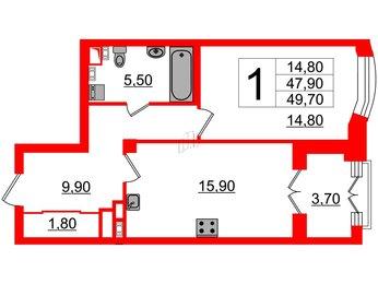 Квартира в ЖК Victory plaza, 1 комнатная, 47.9 м², 3 этаж