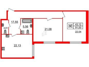 Квартира в ЖК Биография, 2 комнатная, 91 м², 3 этаж
