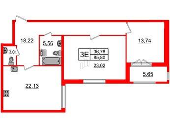 Квартира в ЖК Биография, 2 комнатная, 85.8 м², 4 этаж